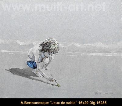 André Bertounesque - scene de plage - beach scene - personnage - human figure