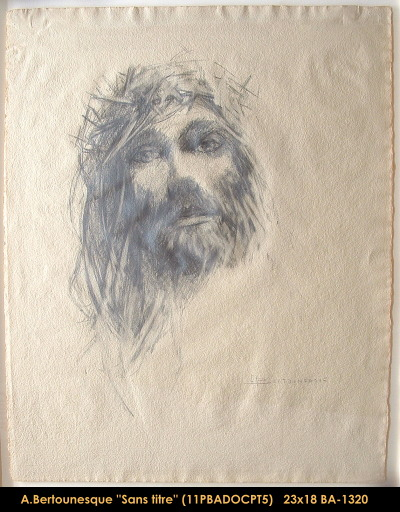 André Bertounesque - dessin - portrait - drawing -portrait - christ