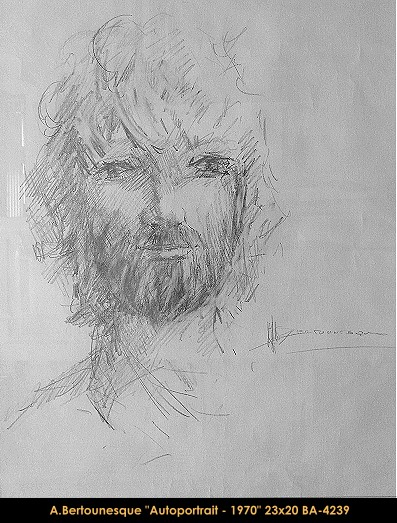 André Bertounesque - dessin - autoportrait - drawing - self-portrait