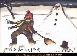 Normand Hudon - scene hiver - winter scene - enfants - children