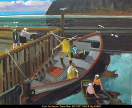 Paul Tex Lecor - fishing scene - scene de peche