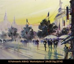 Roland Palmaerts - cityscape - scene de ville - marché - market