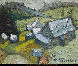 Albert Rousseau - paysage avec maisons - Landscape with houses